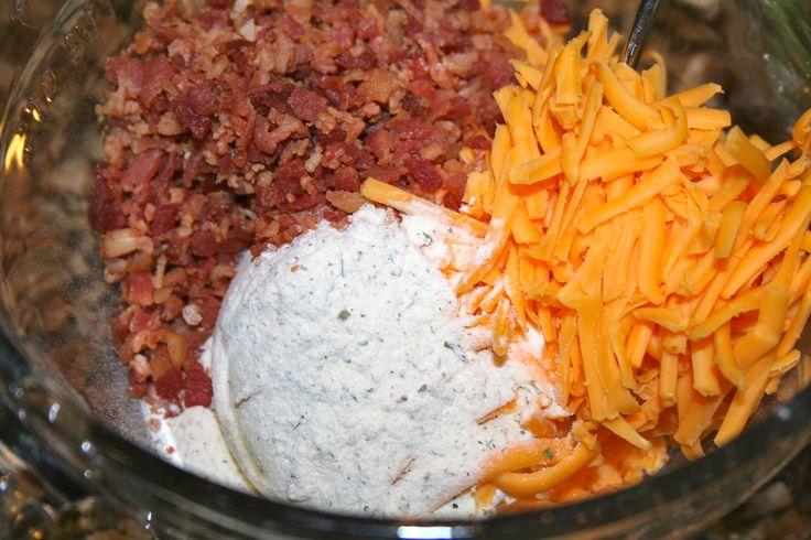 Cheddar Bacon Ranch Dip - 16oz sour cream, 1pkt ranch dip mix, 1c shredded cheddar, 3oz bacon (5-6 strips). Stir together and refrigerate.