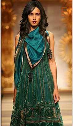 Indian Traditional Green Satin Anarkali Dresses, Dress