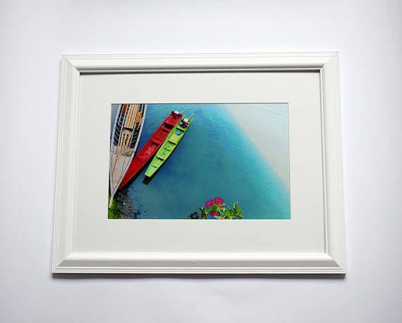 Wooden Boats Fishing Gifts for Men Minimalist Art Island