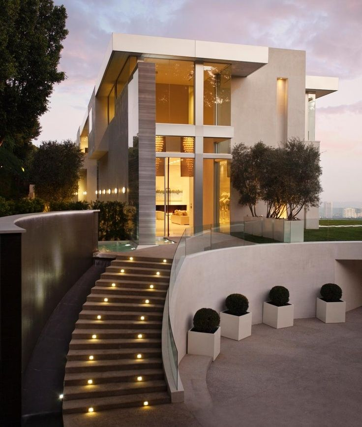 Exterior design with modern outdoor staircase and modern lighting design ideas