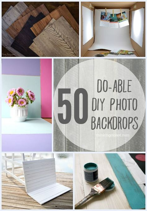 50 Do-Able DIY Photo Backdrops   A collection of inspiration from across blogland for bloggers and shop owners looking to shoot professional-looking photos using backdrops they already have or can easily and inexpensively make themselves!  A goldmine of information!