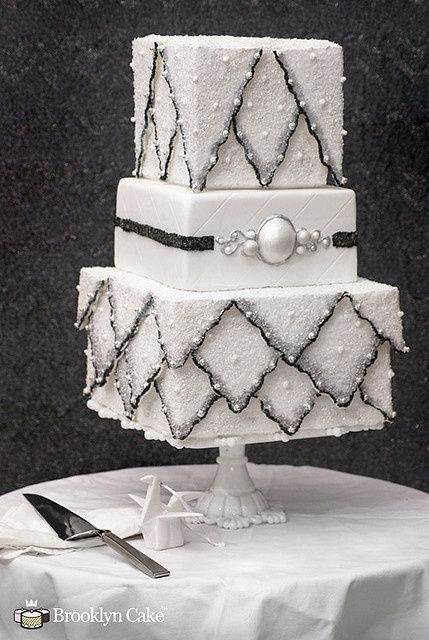 Sparkling White  Black Wedding Cake