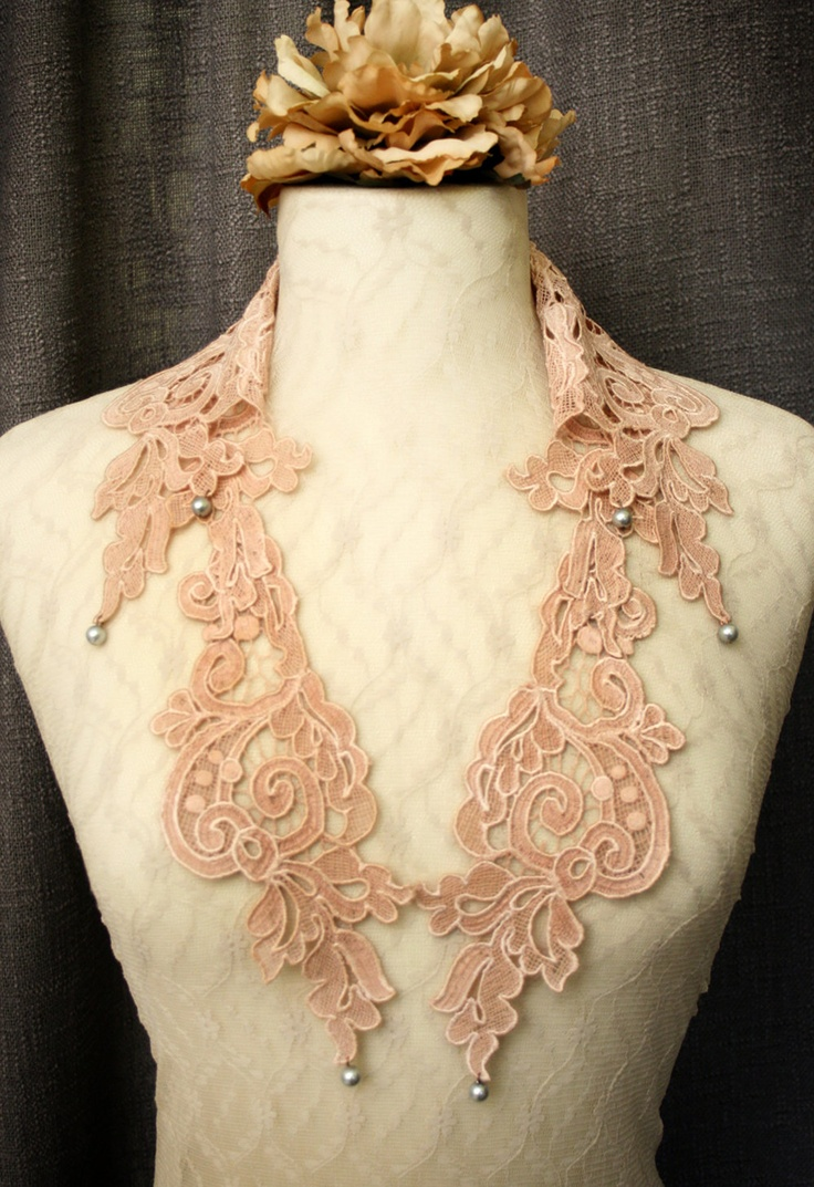 lace collar necklace LOUISA ombre vintage blush by tinaevarenee, via Etsy.