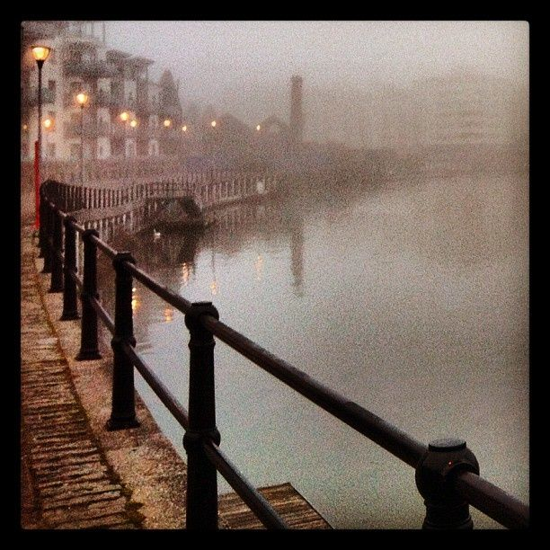 Bristol harbourside in dense fog early morning. March 2012.