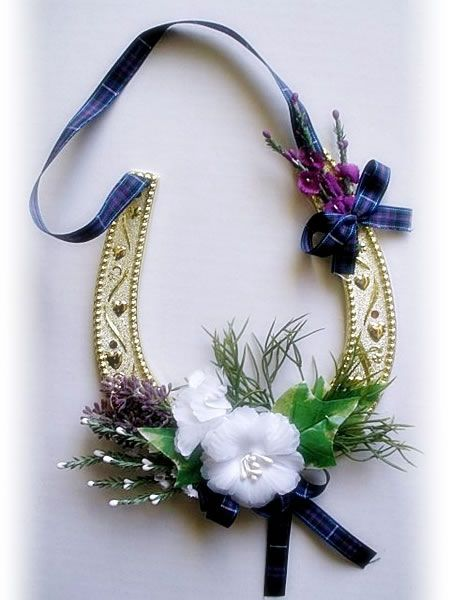 Scottish Good Luck for Couple - traditional tartan colors dress up a silver horse shoe