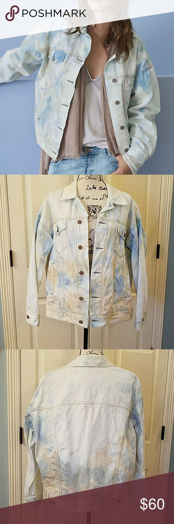 Free People Tie Dye Denim Trucker Jacket EUC Super cute, white denim jacket with pink, blue and yellow tie dye.  Oversized fit. Only worn a couple times.  Washed and hung to dry.  Like new.  No flaws. Free People Jackets & Coats Jean Jackets