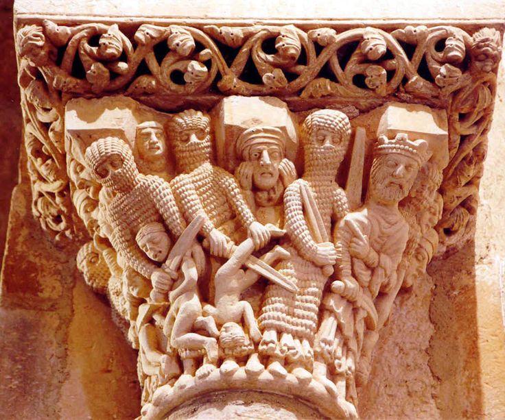 """Arte """"Románico"""". Iglesia Santa Cecilia, Siglo XII, Aguilar de Campoo,  Palencia.Spain.(Capitel de los """"Santos Inocentes"""")"""