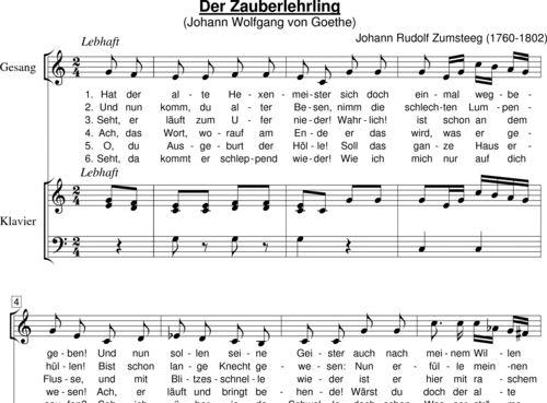 Zumsteeg, Johann Rudolf: Der Zauberlehrling (Goethe - Hat der alte Hexenmeister...) - Solo>Alt+Klavier
