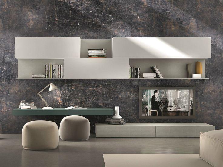 Parete attrezzata componibile fissata a muro con porta tv I-modulArt - 281 by Presotto Industrie Mobili design Pierangelo Sciuto