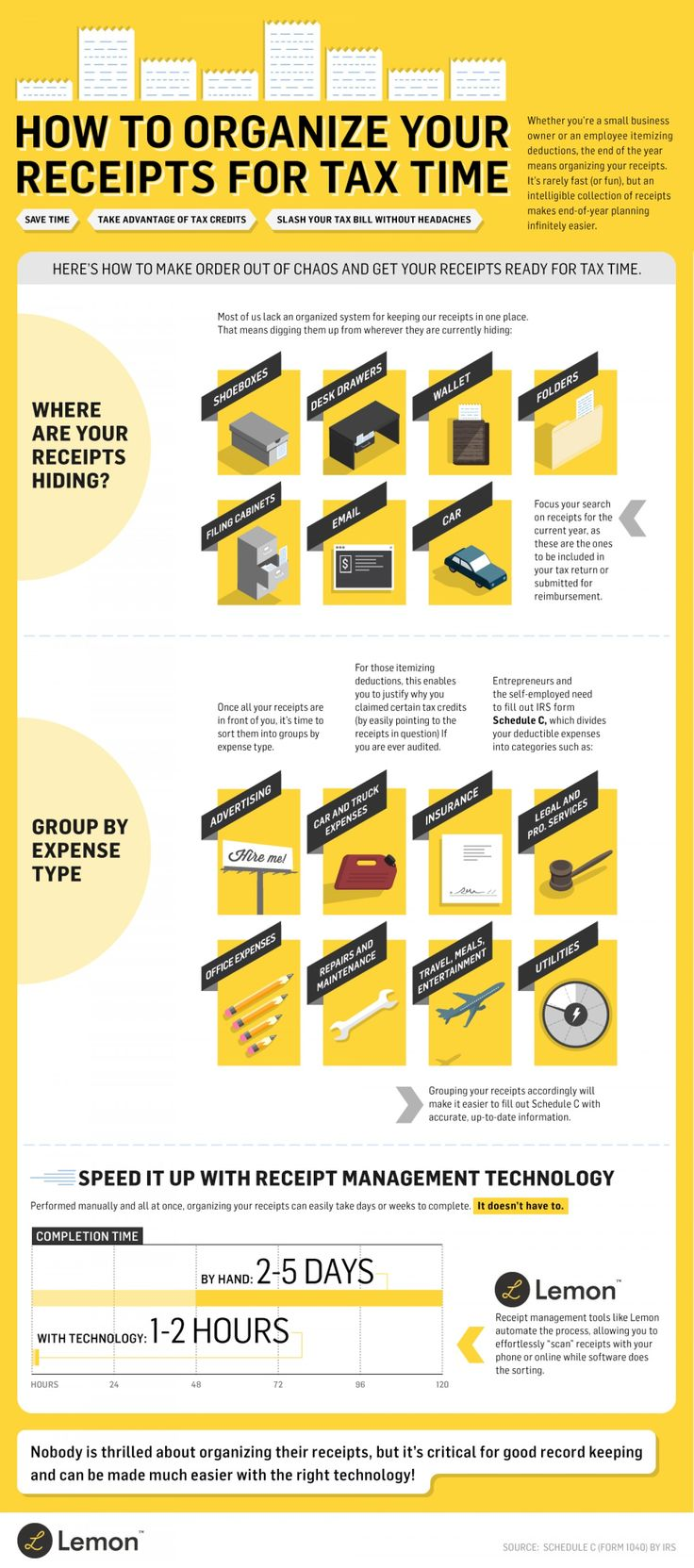 How to Organize Your Receipts for Tax Time Infographic - GLM Mortgage Group