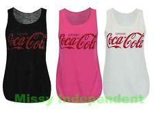 Maglia da donna senza maniche con stampa Coca Cola,stile canotta da sport