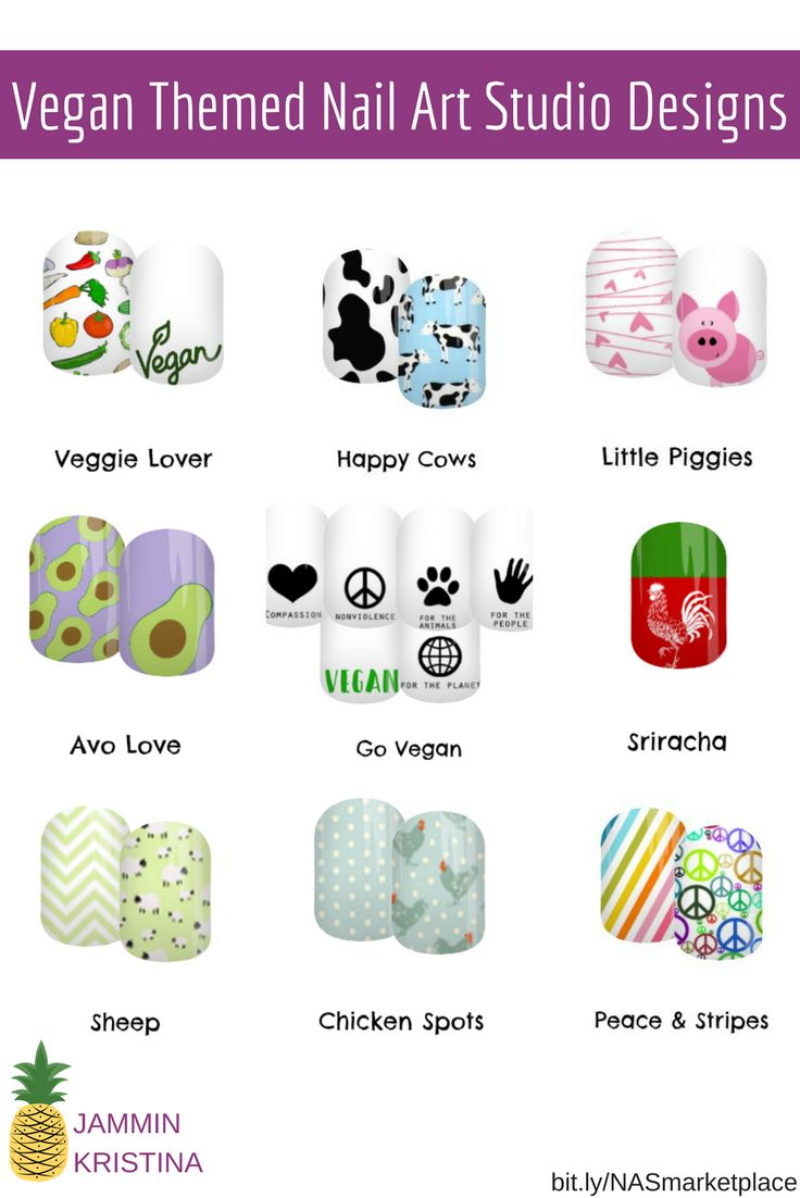 A sampling of my specially designed vegan themed/inspired Jamberry Nail Art Studio nail wraps. From food to farm animals to peace, I've got you covered! #jamberry #manicure #vegan #pigs #chickens #sheep #avocado #sriracha #vegetarian #cows #peace #peacesigns #nailart #nails #nailartstudio #jamberrynails