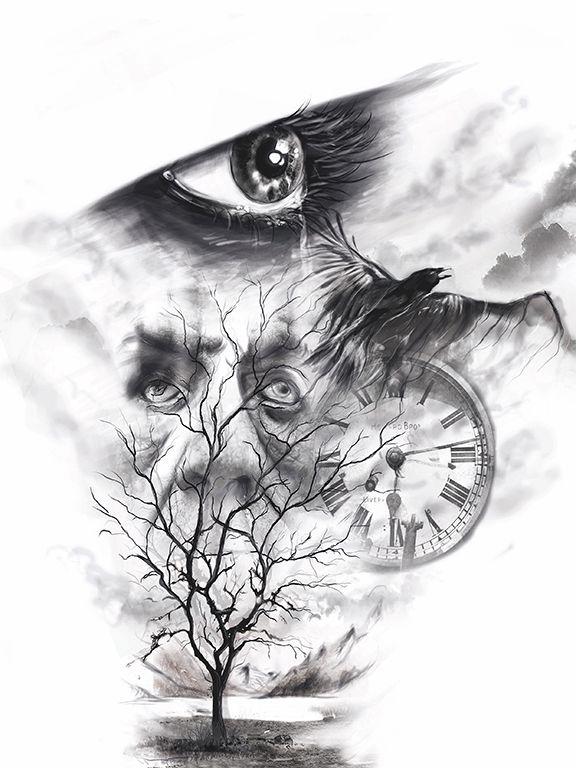 photoshop, tattoo Sketch, tree, lake, mountains, eye, Burtscher N.