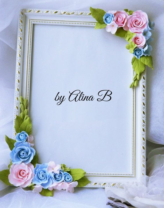 Photo frame with flowers made of polymer clay by byAlinaB on Etsy