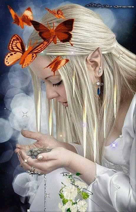 Elf maiden with butterflies