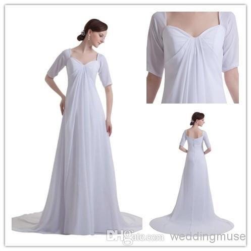 Wholesale Simple Wedding Dress Buy Elegant Half Sleeves