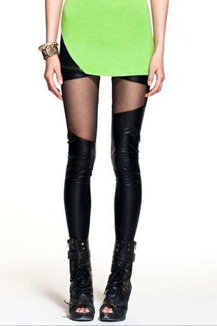 The skinny leggings crafted in PU, featuring distinctive asymmetric splicing, elastic waistband and  slim fit.$16