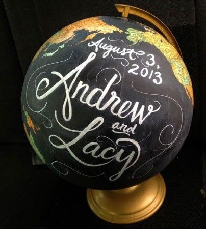 A World of Decoration – Globe Art.  Cute decor idea if a couple had to do long distance before being together