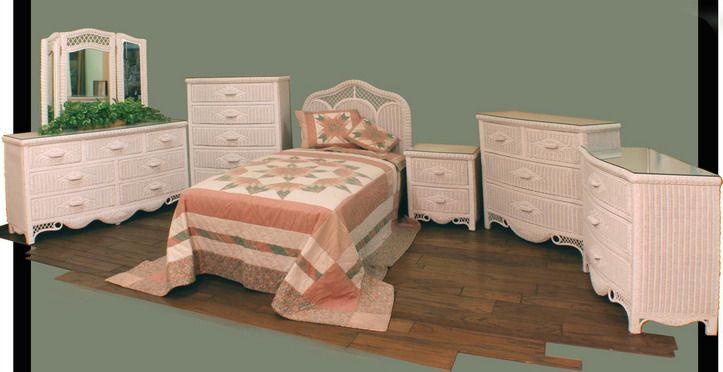 Patio Wicker Regency Wicker Bedroom Set Honey
