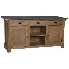 Meuble comptoir en bois massif plateau zinc l 191 cm 2 placards 3 tiroirs 39 39 derry 39 39 z bars et - Meuble professionnel restauration ...