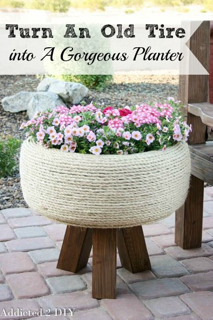 This planter is GORGEOUS! The tutorial is simple to follow and it's hard to believe it's actually an old tire!