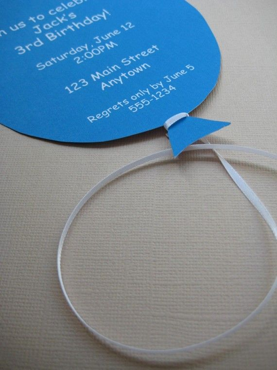 Customized balloon invites from @Tea Party Designs