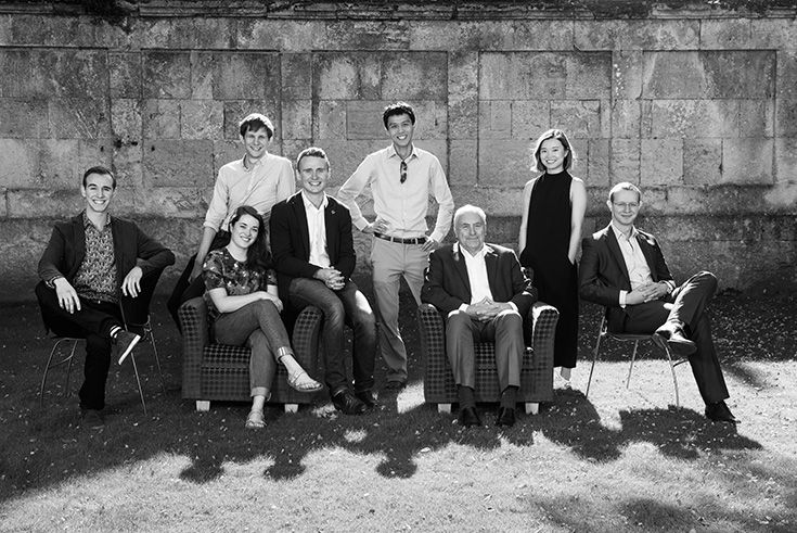 Left to Right: Tomas Halgas, Alice Baggaley, Joshua Folkard, Oliver Watts, Martin Chan, Sir Ivor Crewe, Mengya Du, Edward Hicks.