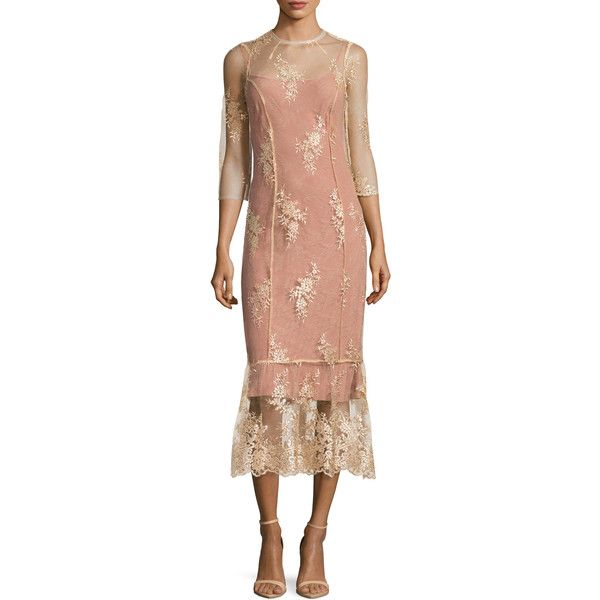 ABS by Allen Schwartz Women's Lace Flounce Midi Dress - Cream/Tan,... (160 CAD) ❤ liked on Polyvore featuring dresses, white, lace dress, cream dress, white day dress, lace midi dress and white lace dress
