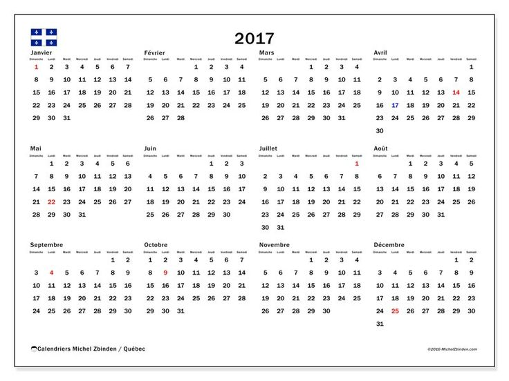 Gratuit ! Calendriers pour  2017 à imprimer - Canada