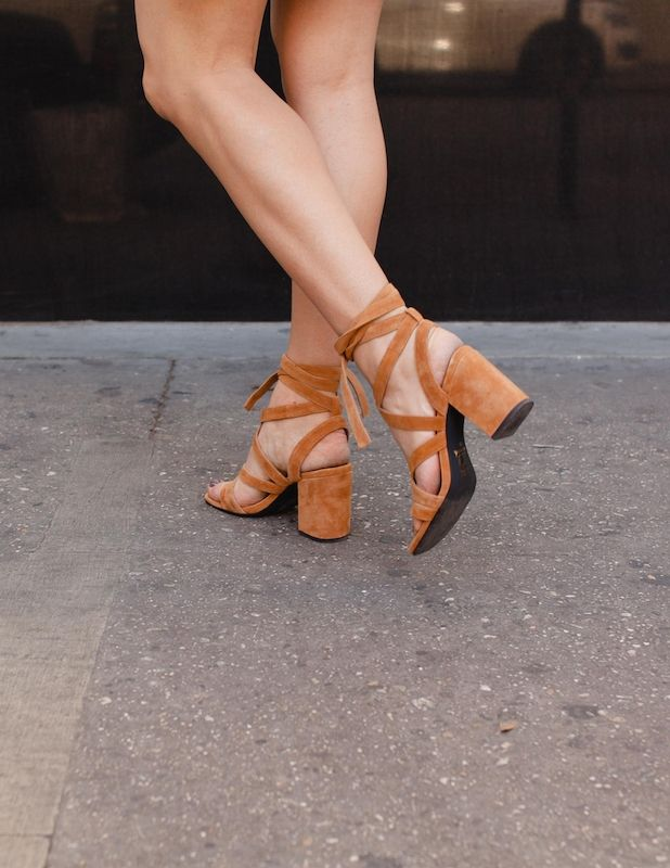 Suede lace-ups with block heels. Probably the perfect shoes.