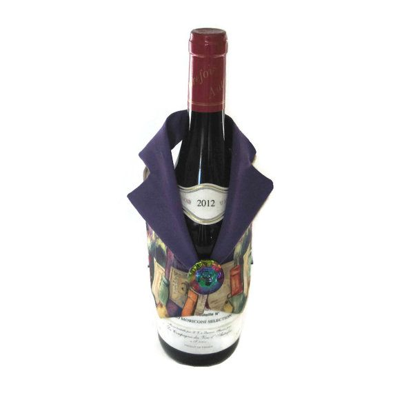 Wine Gift Set Multi Colored Wine Bottle by MyCreationsByCarol, $15.00
