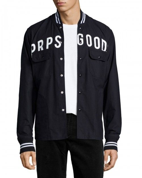 Prps+Logo+Button+Front+Shirt+Jacket+Black+|+Coat,+Jacket+and+Clothing
