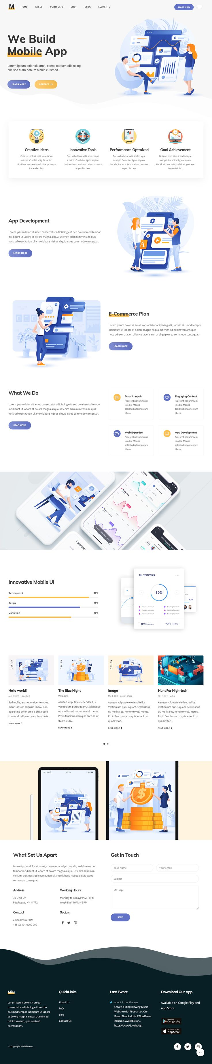 Tech and App Landing Page WordPress Theme