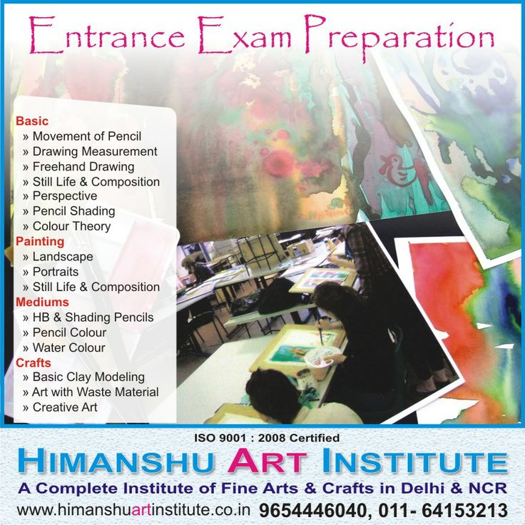 ENTRANCE EXAM PREPARATION CLASSES - Himanshu Art Institute provides training for entrance exams of NIFT, NID, CEED and offers coaching programs for Pearl Academy, Srishti, FDDI and BFA.   For Details Call: 9654446040, 011-43557340  