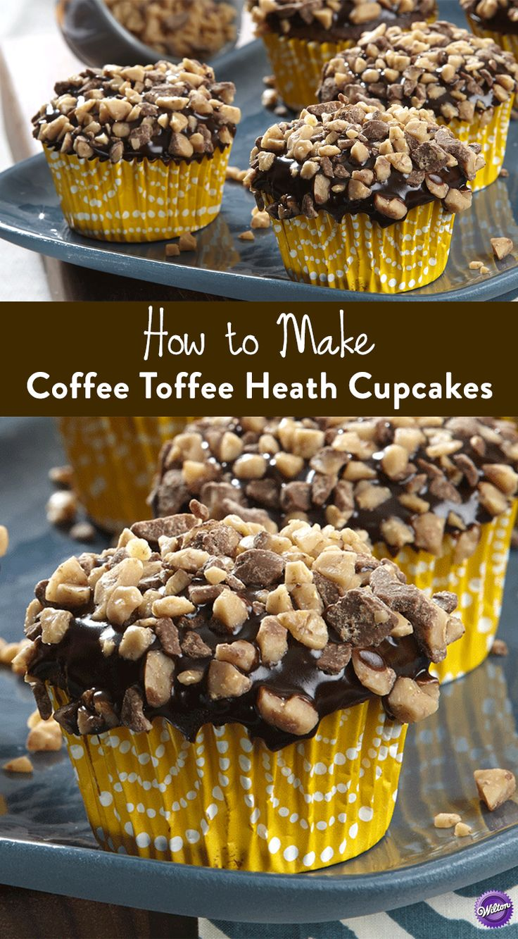 Coffee Toffee Heath Cupcakes Recipe - Make a dessert for Father's Day that Dad will love! Bake these delicious cupcakes that combine the flavor of coffee and toffee.