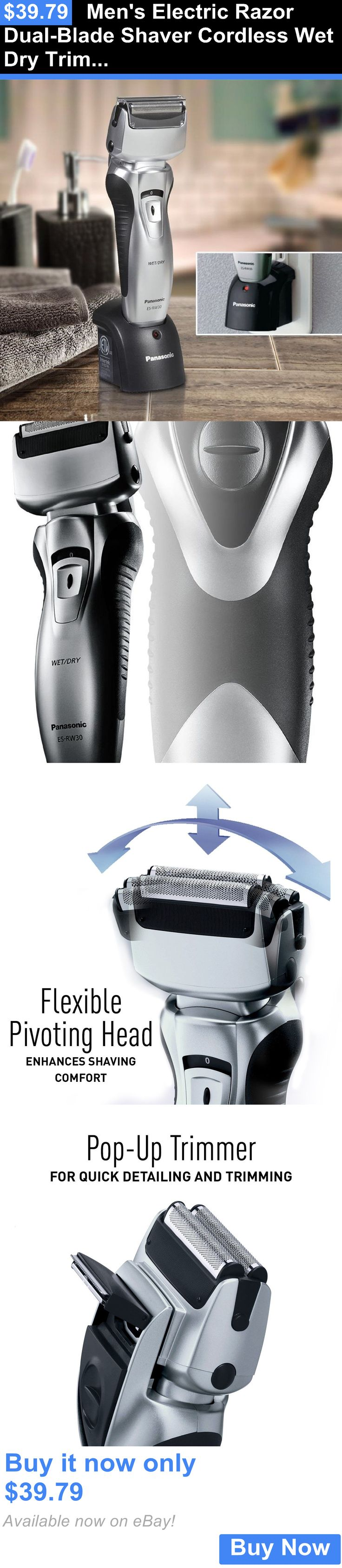 Shaving: Mens Electric Razor Dual-Blade Shaver Cordless Wet Dry Trimmer Panasonic BUY IT NOW ONLY: $39.79