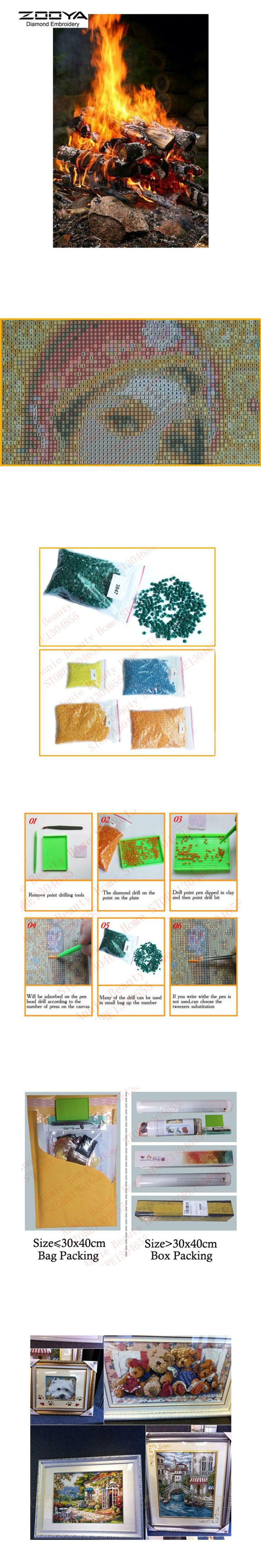 5D DIY Diamond Painting Warm Fire Crystal Diamond Painting Cross Stitch Firewood Combustion Needlework Home Decorative BJ777 $8.27