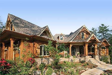 Plan 15617ge award winning mountain craftsman plan for Craftsman log home plans