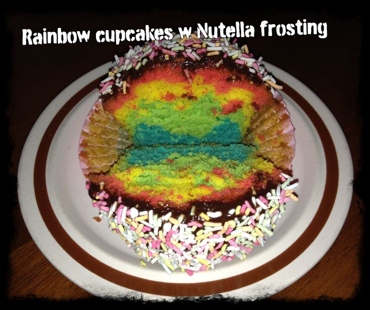 Rainbow cupcakes, chocolate ganache frosting, topped with 100's & 1000's
