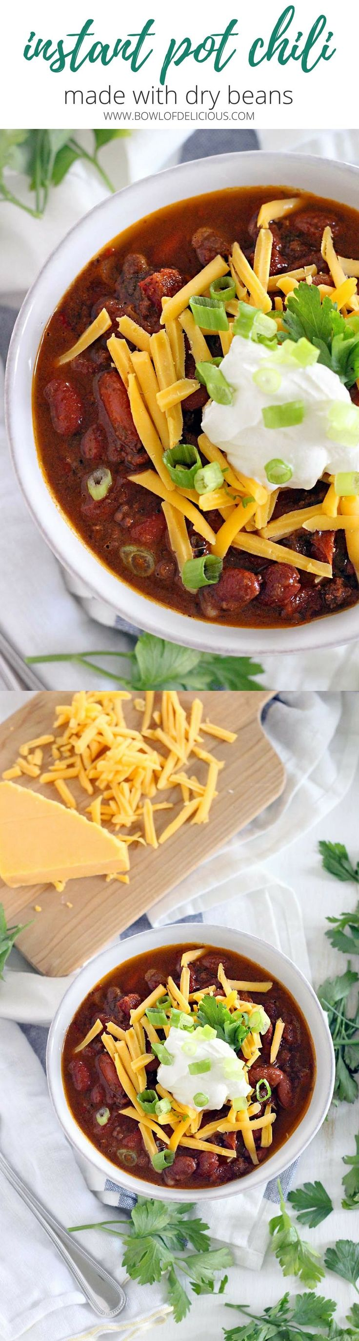 This Instant Pot Chili is made with ground beef and dry kidney beans, and comes together in less than an hour! It's cheap, healthy, and DELICIOUS. #instantpot #crockpot #sponsored by @USAPulses and @PulseCanada