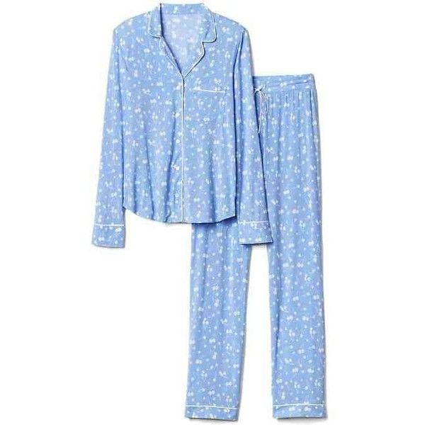 Gap Women Modal Sleep Set ($70) ❤ liked on Polyvore featuring intimates, sleepwear, pajamas, gap sleepwear, long sleeve sleepwear, long sleeve pyjamas, gap pajamas and long sleeve pajamas