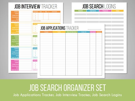 Job Search Organizer Set job search tracker by FreshandOrganized