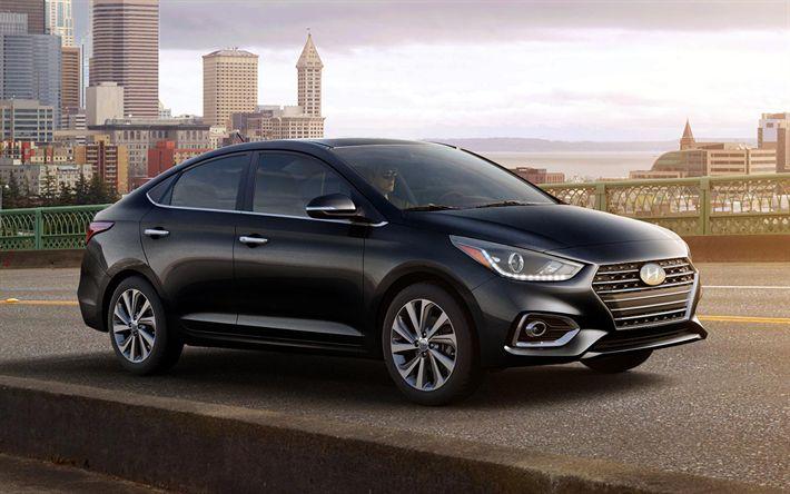 Télécharger fonds d'écran Hyundai Accent, 2018, la berline compacte, noir des Accents 2018, voitures neuves, les voitures coréennes, noir berline Hyundai