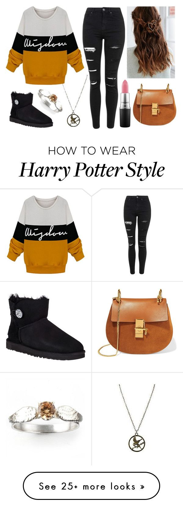 """Sin título #233"" by abigail-15-love on Polyvore featuring UGG Australia, Topshop, Chloé, MAC Cosmetics, women's clothing, women, female, woman, misses and juniors"