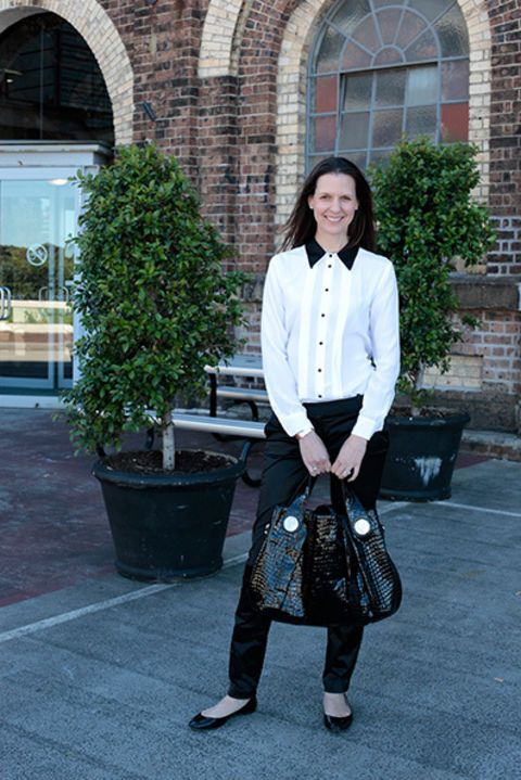 Susie Hogan, marketing director. Equipment blouse, Zara pants, Witchery shoes, Gucci bag, Hermes watch.