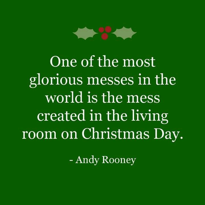 One of the most glorious messes in the world is the mess created in the living room on Christmas day. Don't clean it up too quickly. ~ Andy Rooney