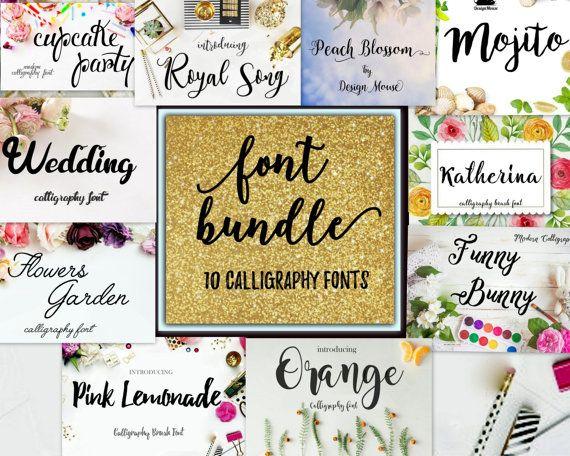 Font Bundle Calligraphy Font 10 fonts Digital download font Handwritten download creative design modern calligraphy font wedding Christmas by ThePrintablesWorld