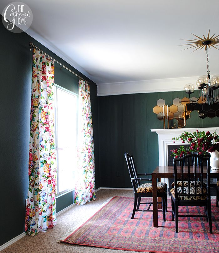 Love the light floral curtains with the deep dark walls.  AND that ceiling painting around the fixture.