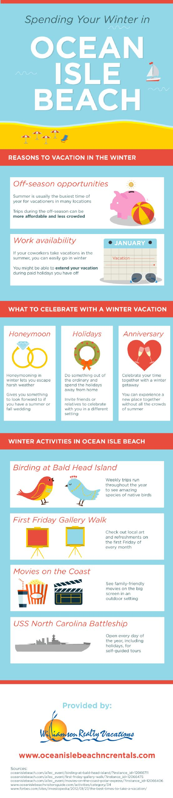 Honeymooning in the winter lets you escape harsh weather! This idea also gives you something to look forward to if you have a summer or fall wedding. Take a look at this Myrtle Beach vacation infographic to see more reasons to take your honeymoon in the winter.