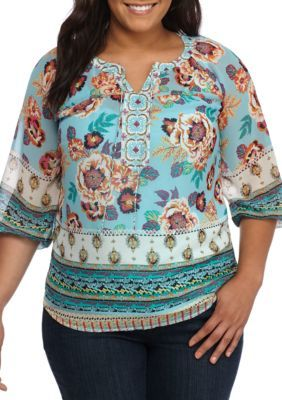 New Directions Women's Plus Size Floral Border Print Lace Back Top - Spa Blue - 2X
